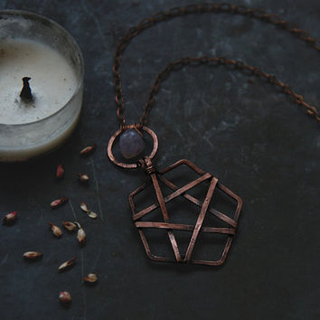 norn • pentacle necklace - crystal pentagram necklace - witch jewelry - witchcraft necklace - amethyst and oxidized copper