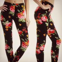 Pretty Floral Leggings Black Bright Flower Pants Stretch Womens Fashion Trend