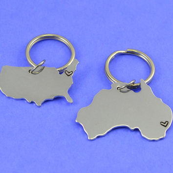Australia and United States Keychain or Necklace Set - Best Friend Gift - Couples Gift - Long Distance Love