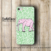 Pink ELEPHANT IPHONE 5S Case Green Paisley Pattern iPhone Case iPhone 5 Case iPhone 4 Case iPhone 5c Case iPhone 4s Case