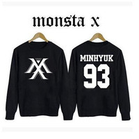 Kpop new idol group monsta x member name printing spring autum sweatshirt fans supportive o neck pullover hoodie plus size