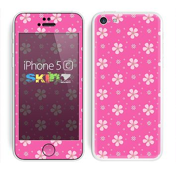 The Pink & Tiny White Floral Pattern Skin for the Apple iPhone 5c