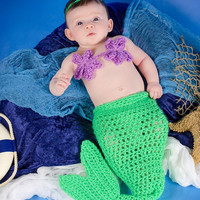 Crochet Baby Set, Mermaid Set, Baby Mermaid, Crochet Mermaid, Baby Photo Shoot, Photography Prop, Baby Shower Gift, Green Mermaid Tail