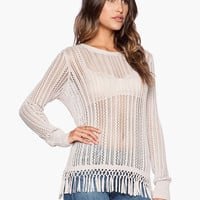 White Long Sleeve Fringed Knitted Top