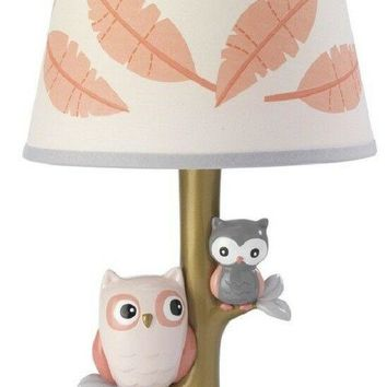 Lambs & Ivy Family Tree Gold/Coral Owl Nursery Lamp with Shade & Bulb