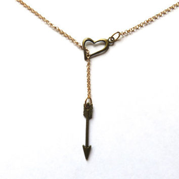 Cupid Arrow Heart Lariat Necklace- Bronze and Gold Tone Charm Pendant Simple Drop Minimalist Bolo Choker