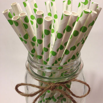 25 Citrus green Polka Dot paper straws / baby bridal shower decorations /candy dessert buffet table / wedding /First birthday/new year party