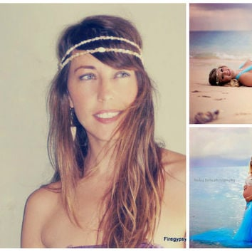 Mermaid Crown seashell headband flapper wedding Hawaiian ocean head piece  made to order