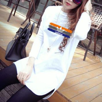 """""""Adidas"""" Women Casual Fashion Multicolor Stripe Letter Print Long Sleeve T-shirt Irregular Bottoming Tops"""
