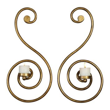 Lucetta Gold Scroll Wall Sconces Set/2