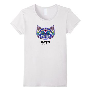 Blue Sugar Skull Cat T-shirt