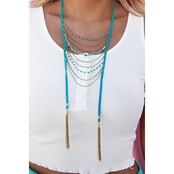 No Hassle Tassel Statement Necklace (Turquoise)