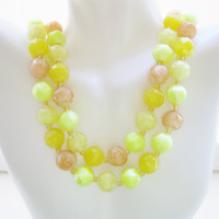 Western Germany Lemon Yellow And Peach Double Strand Lucite Necklace Vintage 1950s Mid Century Multistrand Designer Signed Jewelry