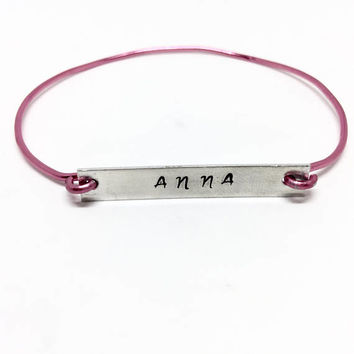 Child Nameplate Bracelet - Skinny Bar Bracelet - Child ID Bracelet - Grandchild Gift - Customized Jewelry, Personalized Gift - Daughter Gift