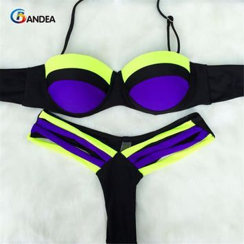 Summer style New Sexy Neon Push Up Swimwear bikini Patchwork Swimsuit Women Biquinis Bathing Suits