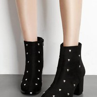 Black Faux Suede Heart Stud Detail Ankle Boots