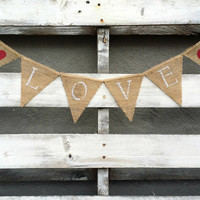 Mini Love Burlap Banner, Rustic Wedding Decor, Photo Prop Banner, Rustic Home Decor