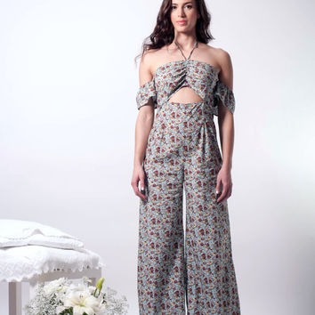 Floral jumpsuit, halter neck jumpsuit, open back jumpsuit, halter jumpsuit, wide legs jumpsuit