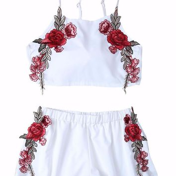 Rose Embroidered Tanktop and Short Matching Set