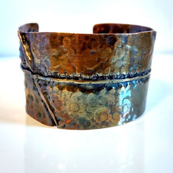Copper Patina Cuff Bracelet Boho Copper Cuff Fold Form Copper Cuff Green Orange Patina Wide Copper Cuff Warm Earth Tone Bracelet Boho Chic