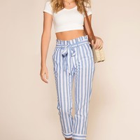 Be My Baby Striped High Waist Paperbag Culotte Pants