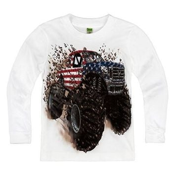 Shirts That Go Little Boys' Long Sleeve Big USA Flag Monster Truck T-Shirt