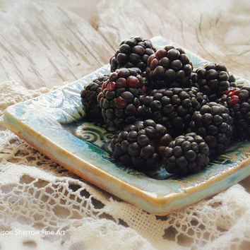 Blackberry Photograph, Kitchen Wall Art, Summer Food Photography Print, Restaurant Decor, Rustic Fruit Still Life | 'Blackberries'