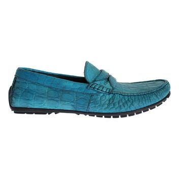 Dolce & Gabbana Blue Crocodile Mens Loafers Slip Ons Shoes