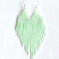 Mint Earrings. Dangle Earrings. Fringe Long Earrings. Beadwork.