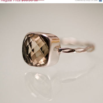 SALE - Gemstone Ring - Smokey Quartz Ring - Sterling Silver - Bezel Set Ring - Stackable Ring