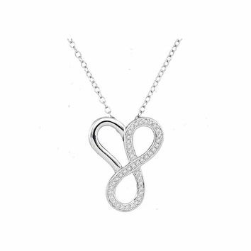 10kt White Gold Women's Round Diamond Heart Infinity Pendant Necklace 1-6 Cttw - FREE Shipping (US/CAN)