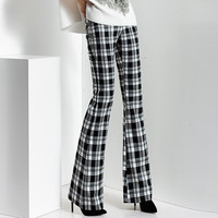2017 spring and autumn Fashion casual plus size Slim plaid Flares pants trousers clothing clothes for female women ladies girls