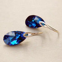 Bridesmaids Swarovski Capri blue drop dangle earrings Crystal deep dark blue pear shape sterling silver earrings