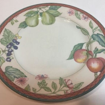 Johnson Brothers Autumn Grove Rare Dinner Plate Multi-Color Fruits & Border