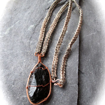 Raw Tourmaline Necklace, Hammered Wire Wrap Copper on Knotted Ombre Natural Hemp, Metaphysical Healing, Wicca Shaman Black Crystal Jewelry