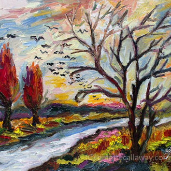 Autumn Red Landscape Bird Migration Impressionist Original Oil Painting by Ginette Callaway