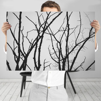 Black and White Tree Photography Art Print, Digital Download | Monochrome Minimalist Branches Decor - 12x18 Tree Art Print | Peaceful Art
