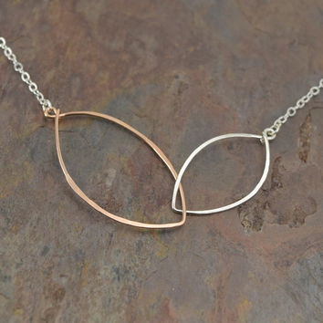 Petals Silver with Rose Gold Necklace