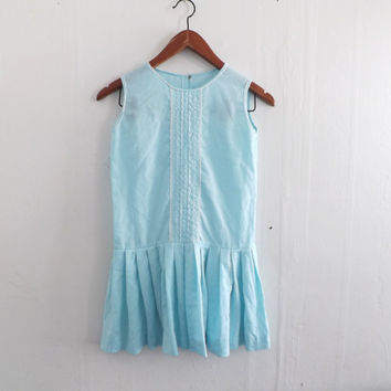Child's 60's Flapper Dress Vintage Girl's Pale Blue Cotton Lace Party Dress Flower Girl Drop Waist Pleated Sundress 1920's Style Wedding