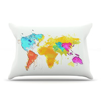 "Oriana Cordero ""World Map"" Pillow Case - Outlet Item"