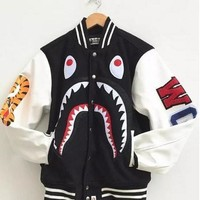 ca spbest Men's Japan Bape Shark Jaw Design Pattern Jacket