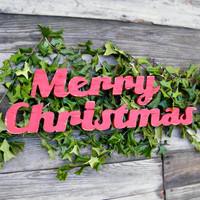 Merry Christmas Wooden Retro Style Word Holiday Sign