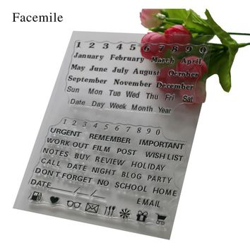 Facemile Clear Stamp Scrapbook DIY Photo Album Card Hand Account Chapters Rubber Product Transparent Seal Stamp Letters YS059