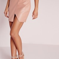 Missguided - Stitch Detail Faux Leather Wrap Mini Skirt Nude