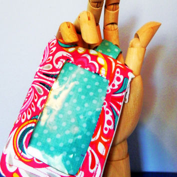 Hot Pink Damask- Yellow, Blue, Green & Teal Accents - ID Wristlet  - ID Window Wallet with Keyring