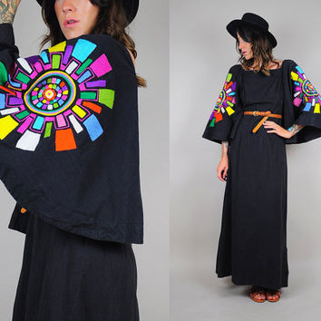 rainbow EMBROIDERED vtg 70's maxi Dress Massive Angel sleeves Geometric Oaxacan MEXICAN bohemian