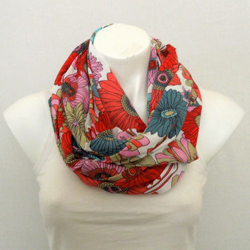 Colorful Flower Infinity Scarf, Jersey, Loop Scarf, Women Fashion Accessory