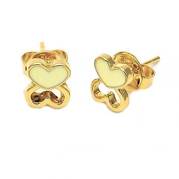 Gold Layered 02.64.0387 Stud Earring, Heart Design, Black Enamel Finish, Gold Tone