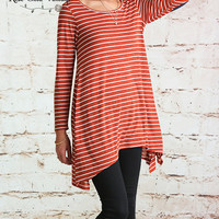 Striped Elbow Patch Tunic - Burnt Orange
