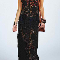Black Strap Cut-Out Lace Long Dress